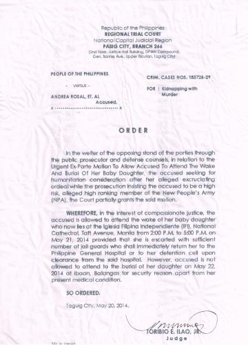 Pasig RTC Br 266 ORDER re Andrea's Urgent Ex-Parte Motion to Allow ...