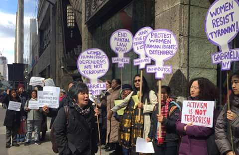 Photos by Women's Major Group and WEDO on the March 16 protest action in front of the Philippine Consulate in New York City. Joan Carling, one of the women activists whose name was included in the list, spoke during the event.