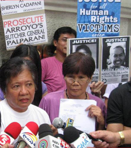 "Karen and Sherly's mother file charges against ""The Butcher"" Gen. Jovito Palparan."