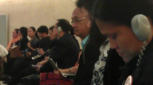 Inside the session hall, delegates listen intently to the report and interactive dialogues between the Philippine mission and other state representatives.